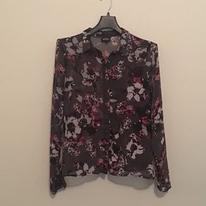 Karl Lagerfeld Macy's floral sheer top size large